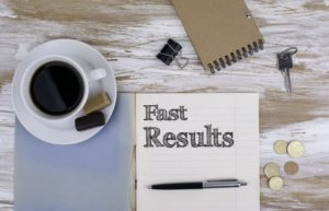 "notepad that says ""fast results"""